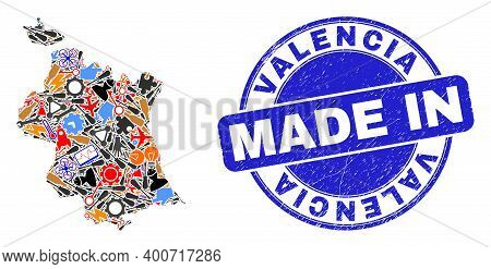 Production Valencia Province Map Mosaic And Made In Scratched Rubber Stamp. Valencia Province Map Mo