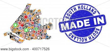 Service Mosaic South Holland Map And Made In Grunge Rubber Stamp. South Holland Map Collage Formed F