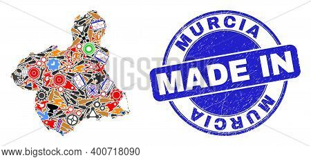 Service Mosaic Murcia Province Map And Made In Textured Rubber Stamp. Murcia Province Map Abstractio