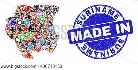 Technical Suriname Map Mosaic And Made In Textured Stamp. Suriname Map Mosaic Created With Spanners,