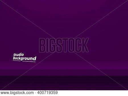 Realistic Violet Shelf On The Studio Wall. Empty Studio Violet Background For Product Display With C