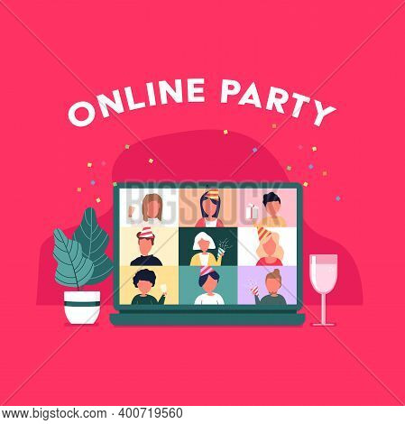 Party From Home. People Meeting Online Video Conference On A Computer On Christmas Holiday. Christma