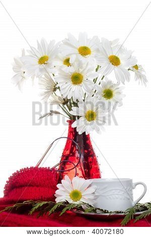 White Flowers Bouquet in Red Vase