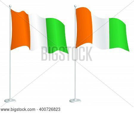 Cote D'ivoire Flag On Flagpole Waving In Wind. Holiday Design Element. Checkpoint For Map Symbols. I