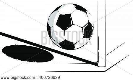 Soccer Ball Flies Into The Corner Flag Of Football Field. Soccer Tournament. Sport Equipment. Backgr