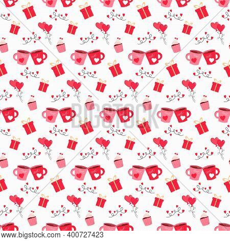 Two Mugs With Hearts, Cupcake, Gifts And Red Hearts. Festive Pattern For Valentines Day. Vector On A