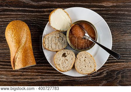 Piece Of Bread, Slices Of Wheat Bread, Teaspoon In Opened Jar With Pollock Roe, Sandwich With Butter