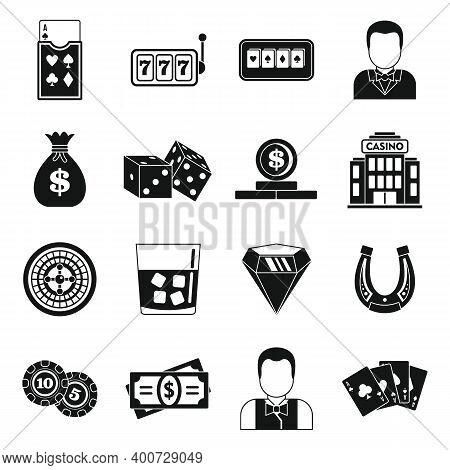 Croupier Guy Icons Set. Simple Set Of Croupier Guy Vector Icons For Web Design On White Background