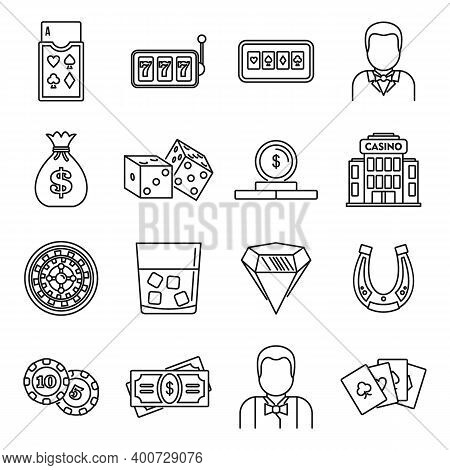 Croupier Casino Icons Set. Outline Set Of Croupier Casino Vector Icons For Web Design Isolated On Wh