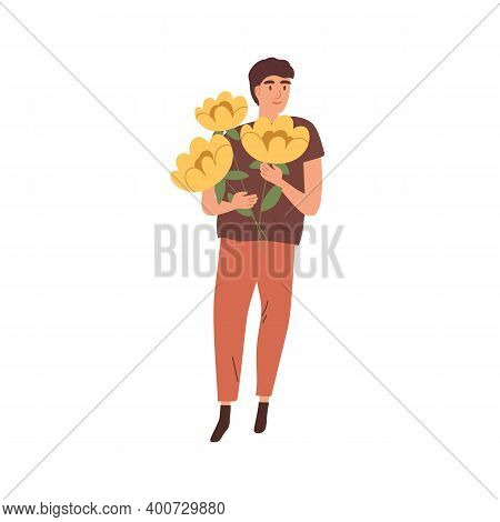 Happy Man Standing With Beautiful Blooming Yellow Flowers Vector Flat Illustration. Smiling Male Cha