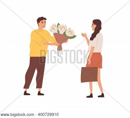 Happy Male Character Giving Bouquet Of Blooming Flowers To Smiling Woman Vector Flat Illustration. E