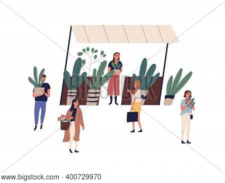 Female Vendor At Outdoor Floristic Kiosk Or Stall Vector Flat Illustration. Florist Selling Potted P