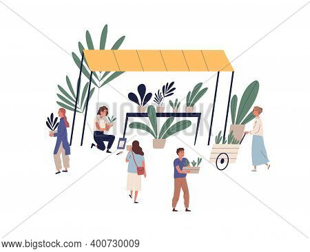 Stall Or Kiosk With Plants At Outdoor Market Or Fair Vector Flat Illustration. Woman Florist Selling