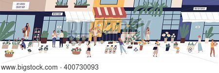 Local Street Flower Market Vector Flat Illustration. Happy Man And Woman Buying Or Selling Floristic