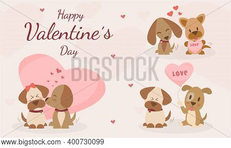 Happy Valentine's Day With Cute Dogs Kiss And Character Dogs Are In Love Greeting Card. The Dog Is S