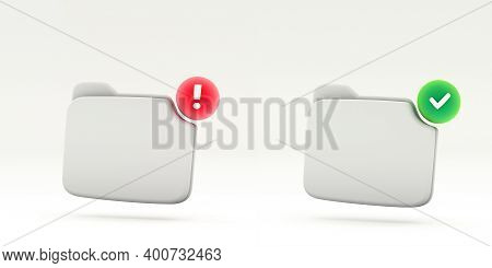 Succes And Error Notification Empty Folder Symbol. 3d Rendering. Two White Folder Isolated On White