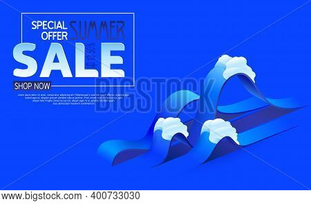 Summer Sale Banner With Paper Cut Waves Background. Abstract 3d Blue Sea Water. Template Isometric F