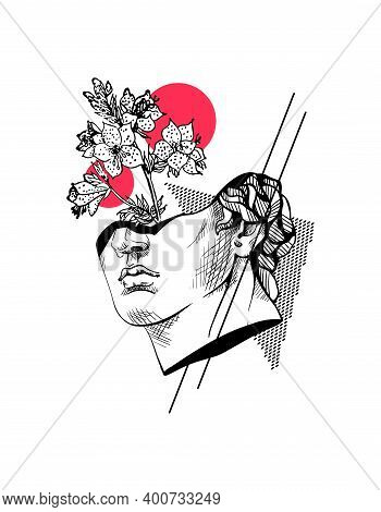 Creative Trendy Abstract Poster With Sculpture Of Apollo, Flower And Geometric Shapes. Hand Drawn In