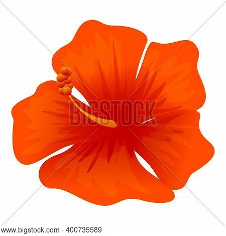 Tropical Hibiscus Icon. Cartoon Of Tropical Hibiscus Vector Icon For Web Design Isolated On White Ba