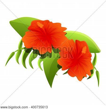 Garden Hibiscus Icon. Cartoon Of Garden Hibiscus Vector Icon For Web Design Isolated On White Backgr