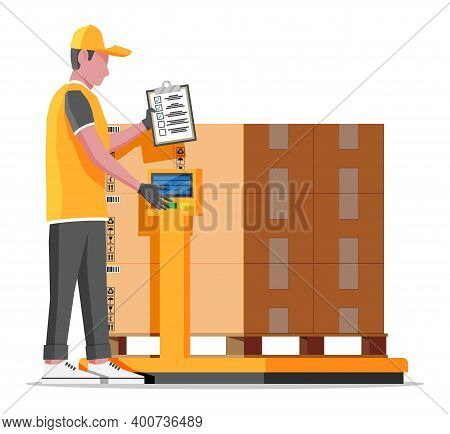 Warehouse Worker Is Weighing The Cargo. Industrial Goods Weight Scales. Logistic And Distribution, P