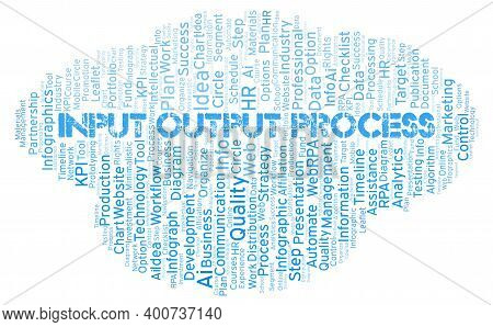 Input Output Process Typography Word Cloud Create With Text Only.
