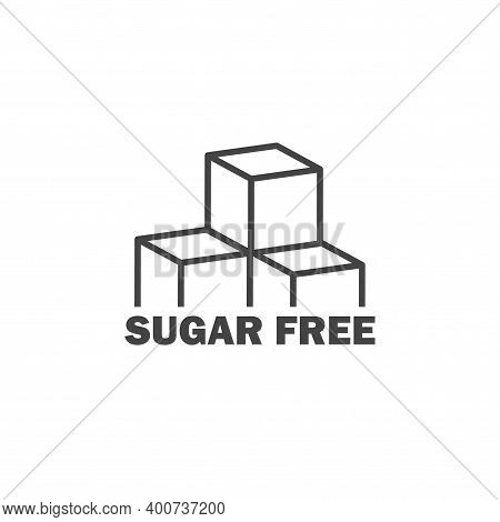 Sugar Free Vector Icon. Sugar Cubes Cartoon Style On White Isolated Background.