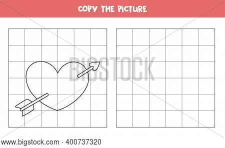 Copy The Picture. Cute Cartoon Valentine Heart. Logical Game For Kids.