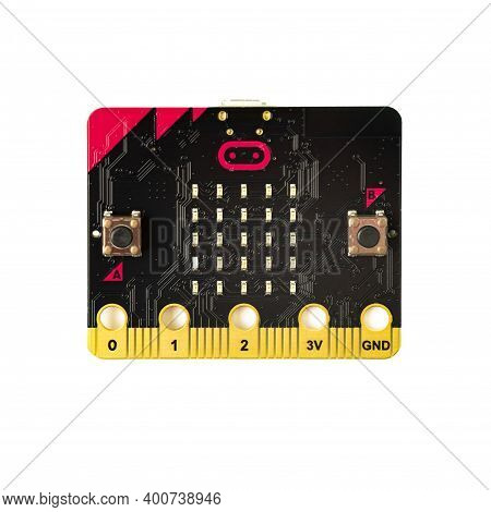 Sankt-petersburg Russia December 18 2020: Micro Bit Microcontroller Over White Background Is A Small
