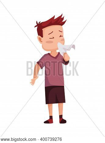 Flu Cold. Flu Or Common Cold Treatment At Home. Young Man With Handkerchief In Hand. Season Allergy.