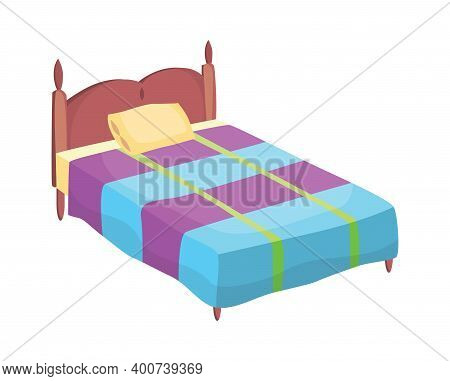 Bed Cartoon. Vector Illustration Of Color Bed With Pillow And Cover. Icon Of Furniture