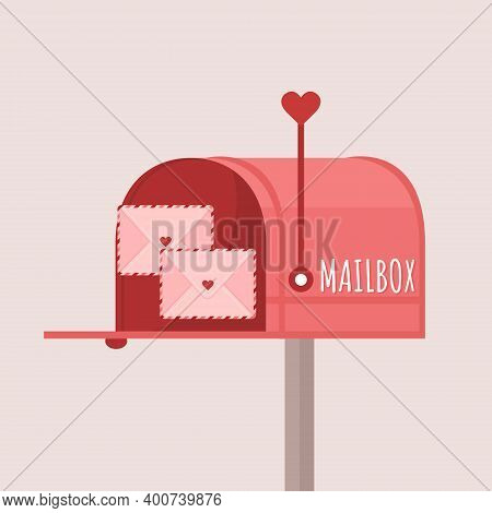Valentine Post. Mailbox With Love Letters. Cute Design Concept For Valentines Day.