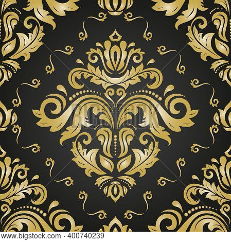 Classic Seamless Pattern. Damask Orient Black And Yellow Ornament. Classic Vintage Background. Orien