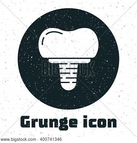 Grunge Dental Implant Icon Isolated On White Background. Monochrome Vintage Drawing. Vector