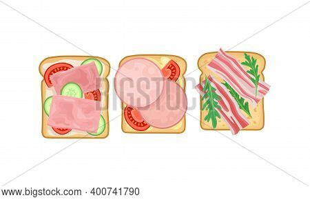 Sandwich With Bacon, Wurst And Vegetables Placed On Slice Of Bread Vector Set