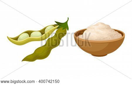 Soy Bean Pod And Soy Flour In Bowl Vector Set