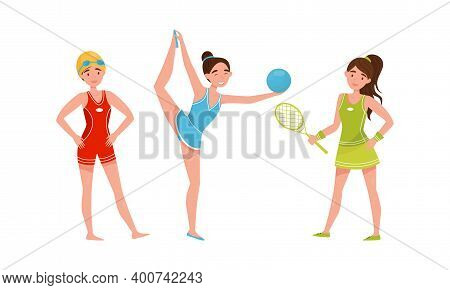 Young Woman In Sportswear Doing Gymnastics And Playing Tennis Vector Illustration Set
