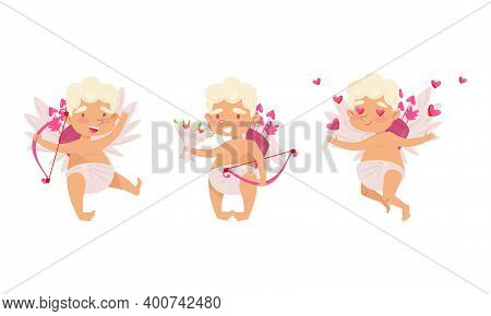 Cupid As Winged Chubby Boy In Diaper With Bow And Arrow Vector Set