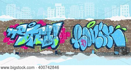Winter Colorful Streetart Graffiti Wall Against The Background Of The