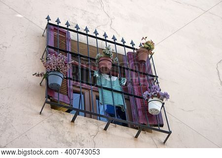 Close-up Of A Window In The La Boca Area. Buenos Aires.