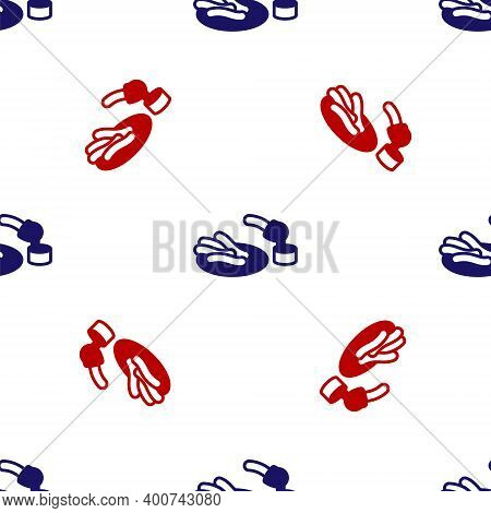 Blue And Red Churros And Chocolate Icon Isolated Seamless Pattern On White Background. Traditional N