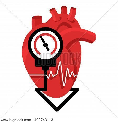 Lowering Blood Pressure Emblem With Heart And Measuring Equipment, For Cardio Pills For Hypertension