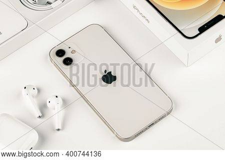 Antalya, Turkey - December 23, 2020: Front And Back View Of New Iphone 12 White Smartphone And Apple