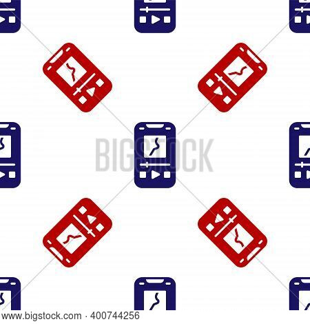 Blue And Red Music Player Icon Isolated Seamless Pattern On White Background. Portable Music Device.