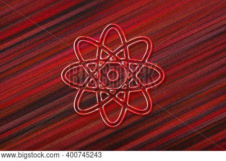 Atom Symbol, Atom Icon, Science, Red Background