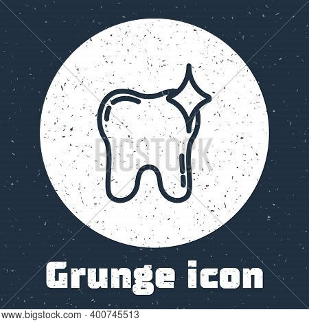 Grunge Line Tooth Whitening Concept Icon Isolated On Grey Background. Tooth Symbol For Dentistry Cli