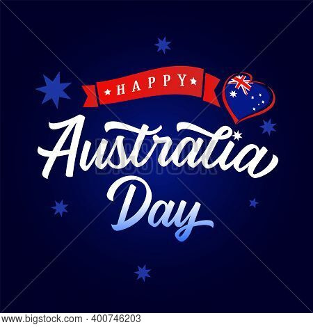 Happy Australia Day Calligraphy And Heart With Flag Banner. Vector Illustration For 26th January Aus