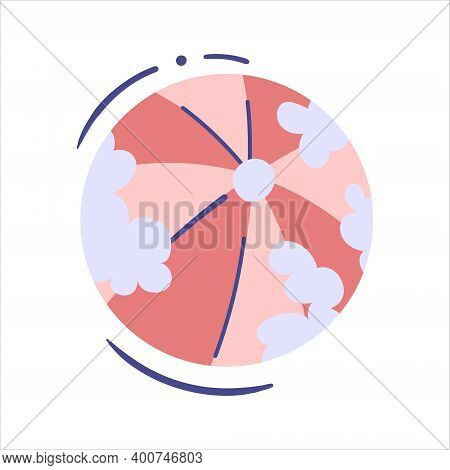Beach Ball - Isolated Vector Illustration. Inflatable Ball For Toddler With Clouds Print - Single Cl