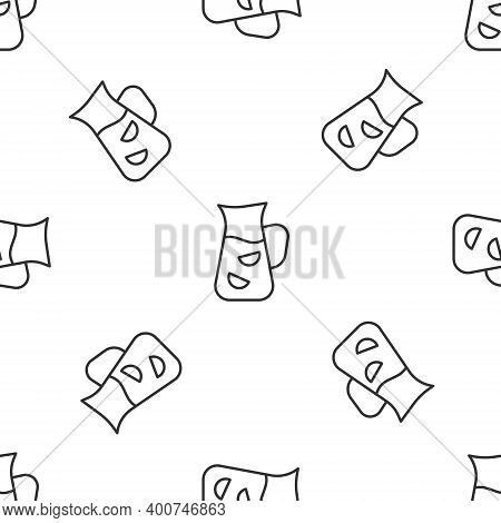 Grey Line Sangria Icon Isolated Seamless Pattern On White Background. Traditional Spanish Drink. Vec