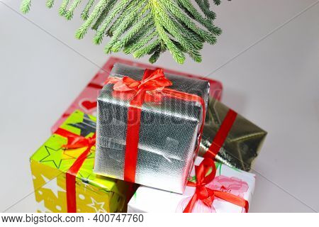 Merry Christmas Gift Box Stock With Leaf